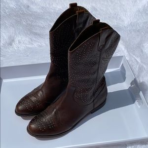 Cynthia Vincent Leather Studded Boots